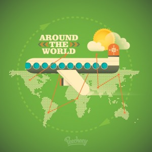 Around the world illustration