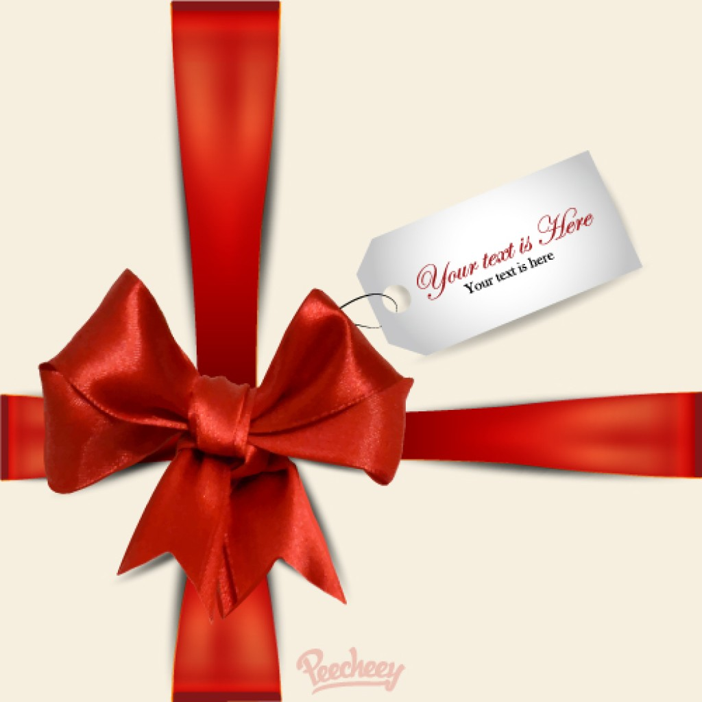 greeting card with a red ribbon