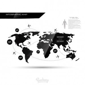 Infographic map black-white