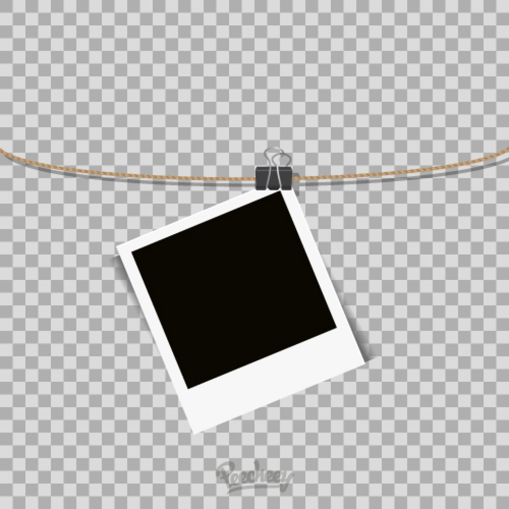 polaroid frame hanging on the rope on transparent background free vector
