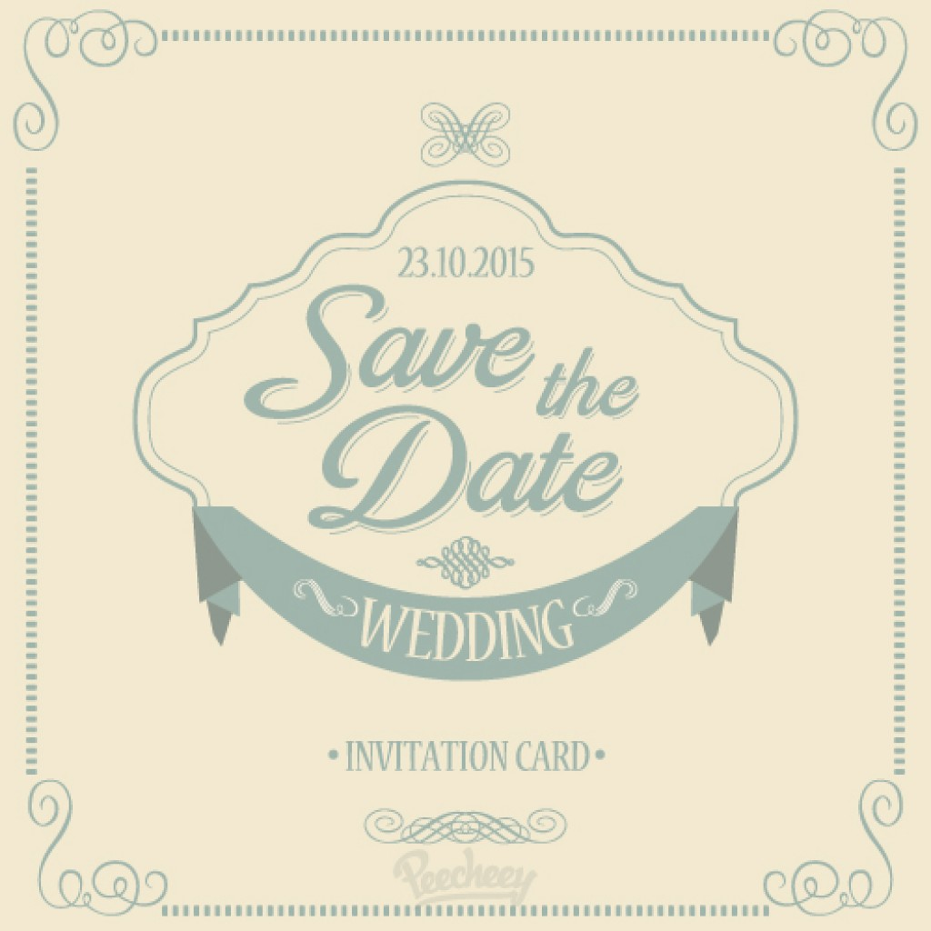 Save The Date Wedding Invitation Free Vector