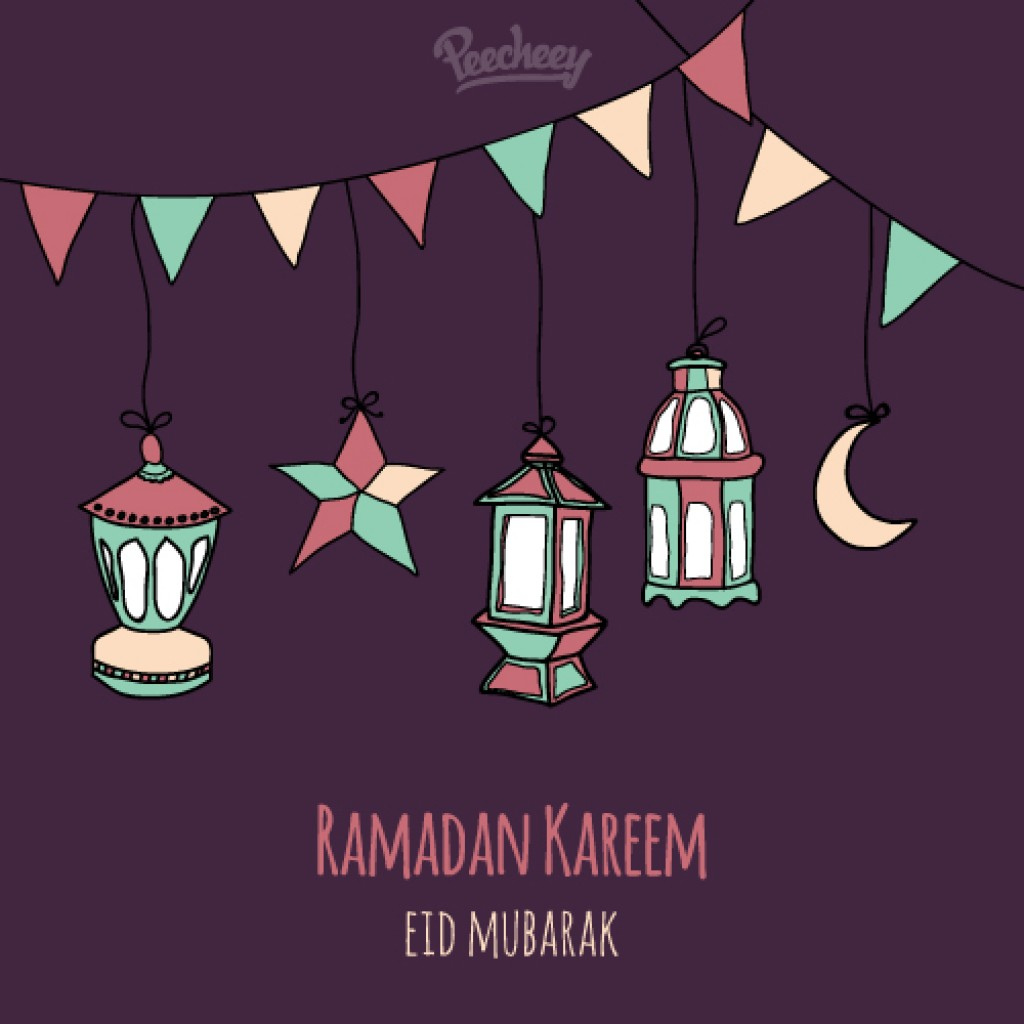 Ramadan Kareem Greeting Card Drawing Style Peecheeypeecheey