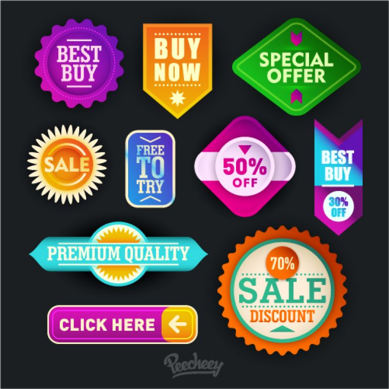 Colorful sale and promotion stickers free vector
