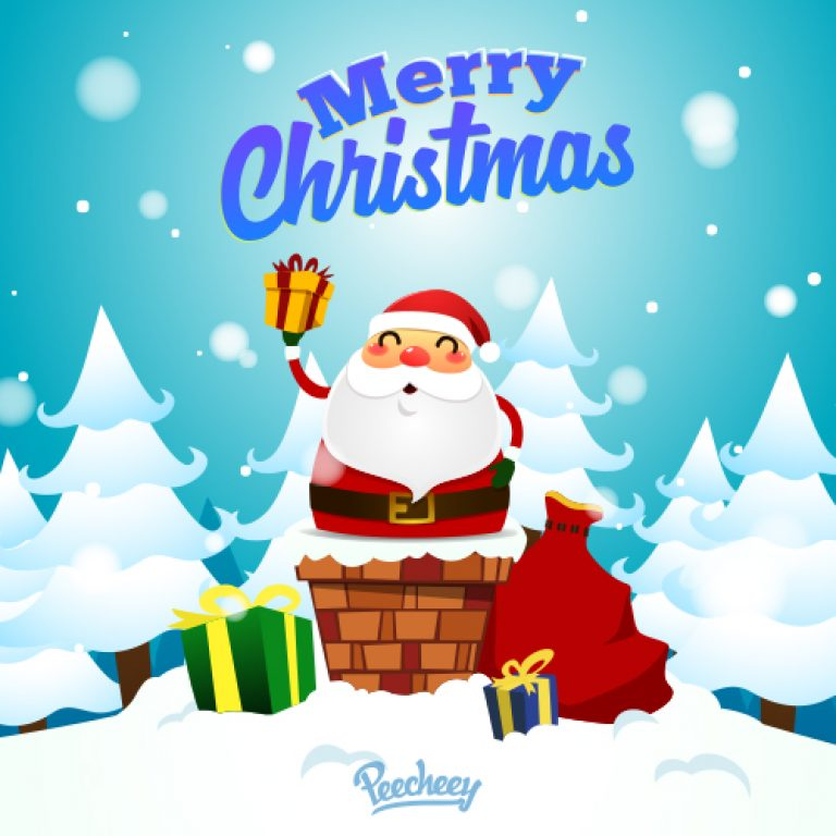 Merry Christmas wishes from Santa Claus free vector